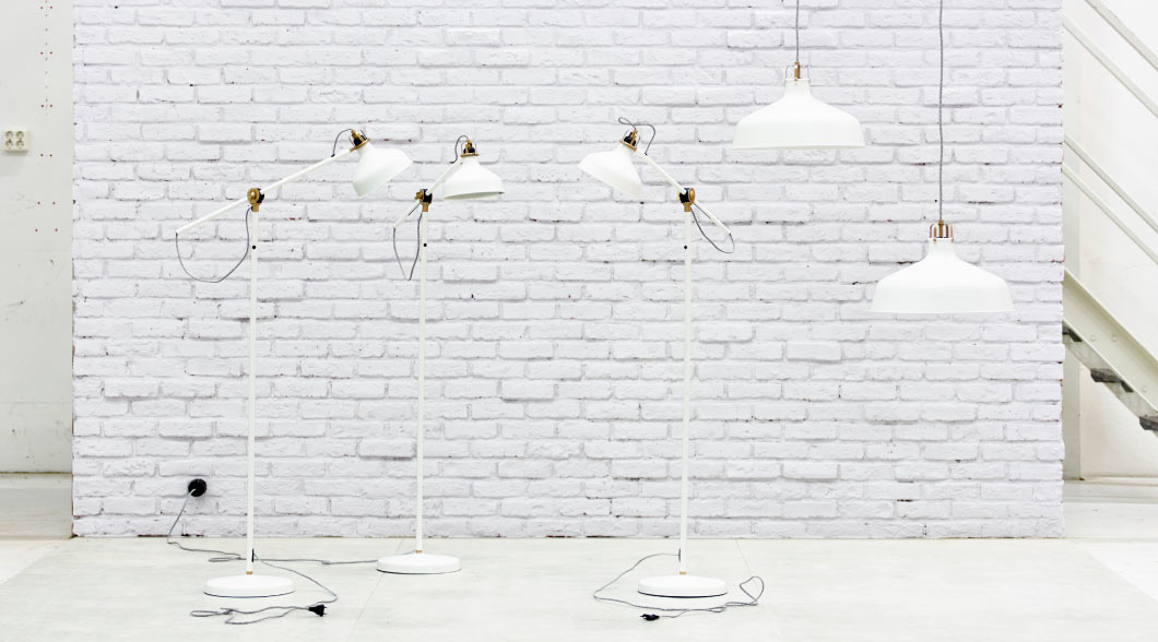 Display of RANARP floor and pendant lamps