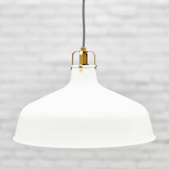 Close-up of RANARP off-white pendant lamp