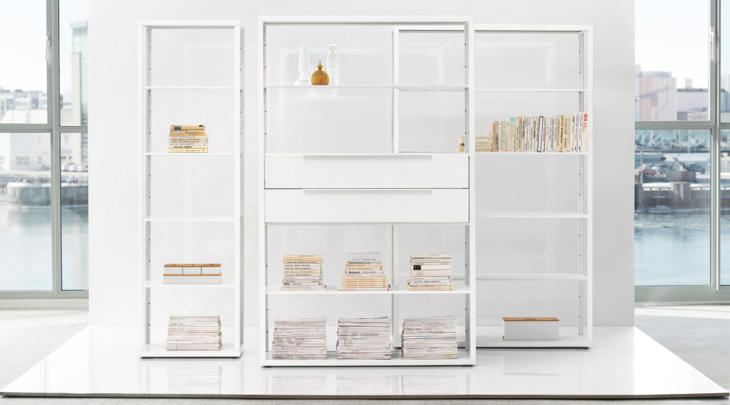 Display of FJÄLKINGE white shelving units with or without drawers