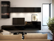 TV storage combination with TV bench and wall cabinet in black high-gloss