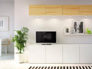 Storage combination with white TV bench and wall cabinets with pine veneer doors