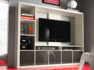 White TV storage unit with door inserts in grey high-gloss