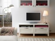 BESTÅ white TV bench with drawers and shelf unit with glass-doors