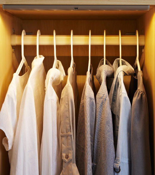 PAX wardrobe with integrated lighting on