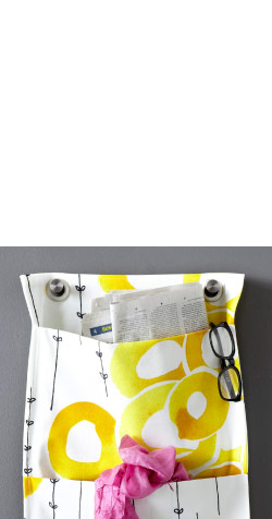 STOCKHOLM white/yellow fabric sewn as a wall pocket