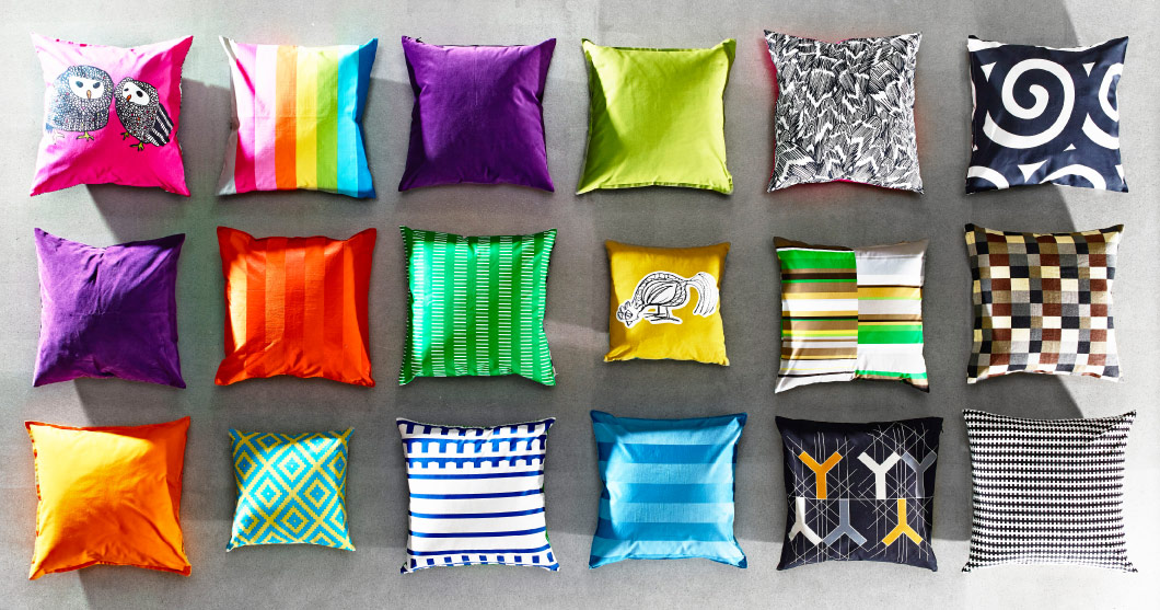 Display of cushion covers in different colours with different patterns
