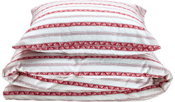 Close-up of a pillowcase and quilt cover in white with red stripes