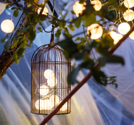 A solar-powered lighting chain inside a bird cage hanging from an apple tree