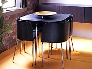 FUSION table and four chairs in brown-black/chrome-plated