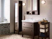 Black-brown HEMNES mirror cabinets and wash-stand