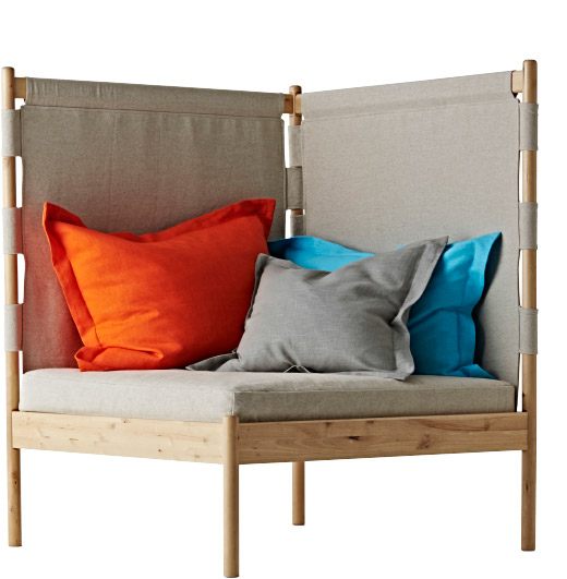 Cutout image of the IKEA PS 2014 Corner Easy Chair with three cushions on it