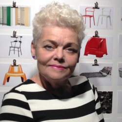 Portrait of IKEA PS 2014 designer Anna Efverlund with mood board in the background