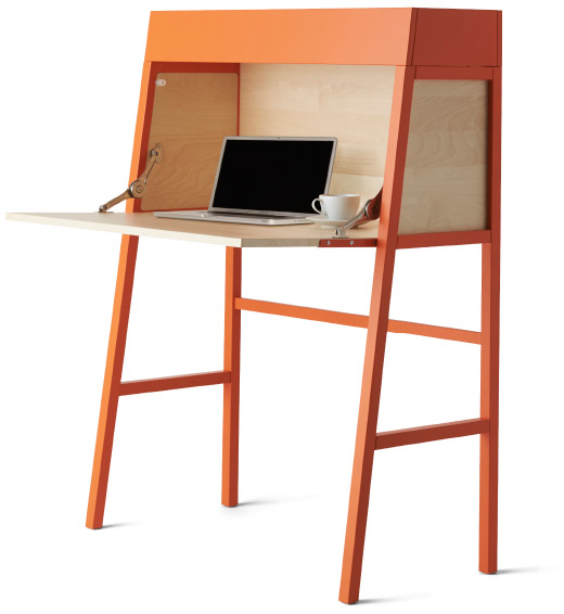 Cutout image of the IKEA PS 2014 bureau with desk open and a laptop and cup and saucer on.