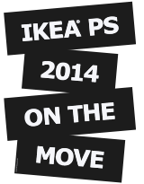 Zwart-wit logo 'IKEA PS 2014 ON THE MOVE/ZIT NIET STIL'