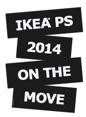 black and white logo with the words IKEA PS 2014 ON THE MOVE
