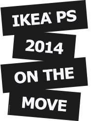 zwart-wit logo IKEA PS 2014 ON THE MOVE/ZIT NIET STIL