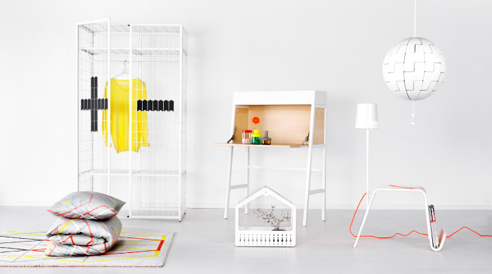 Range of IKEA PS 2014 products in a white room