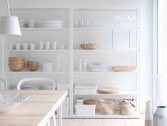 FJÄLKINGE white shelving unit in steel with adjustable shelves