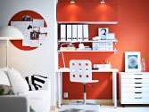 BESTÅ white wall cabinets with white doors and EKBY JÄRPEN/EKBY BJÄRNUM white wall shelves