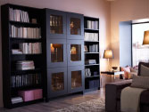 BESTÅ cabinet with tempered glass doors and BILLY bookcases all in black-brown