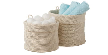 Round fabric storage baskets