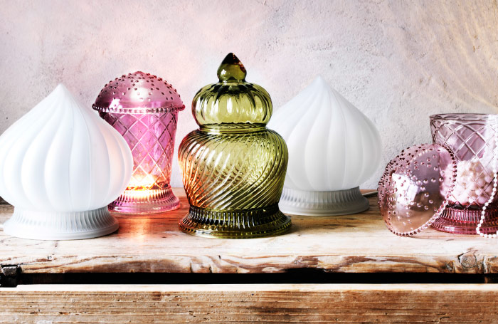 View of assorted table lamps on a shelf