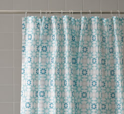 Close-up of patterned shower curtain