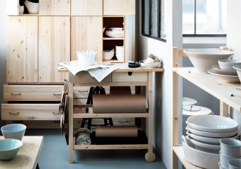 Pottery shop with solid pine storage and trolley for extra work space
