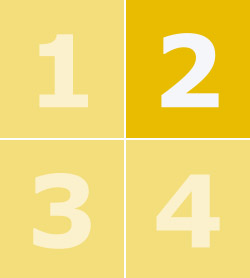 A yellow box containing the numbers one to four with number two in bold.