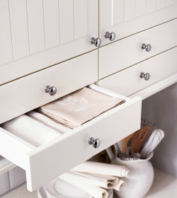 A close up of white wooden kitchen drawers and cabinets over a kitchen counter.
