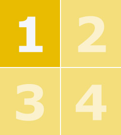 A yellow box containing the numbers one to four with number one in bold.