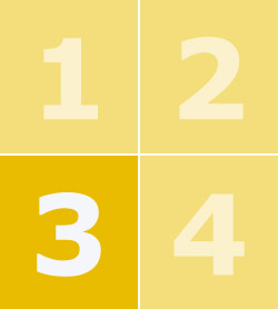 A yellow box containing the numbers one to four with number three in bold.