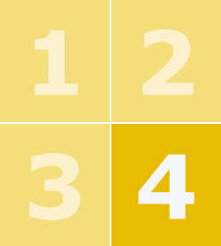 A yellow box containing the numbers one to four with number four in bold.
