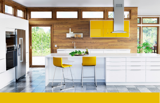 SEKTION kitchen with white high-gloss doors, drawer fronts, and yellow high-gloss doors with soft-closing drawers.