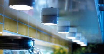 GRUNDTAL lighting installed under a kitchen cabinet