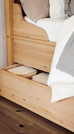 Close up of underbed storage drawer