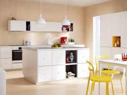 Modern IKEA kitchen ideas with white doors, drawers and worktops and coloured TUTEMO open cabinets