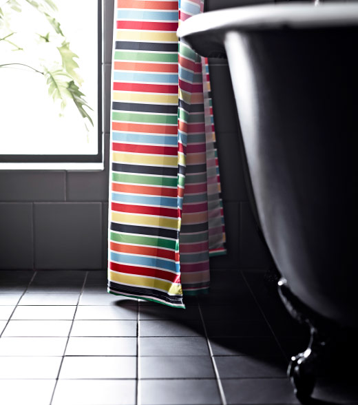 A multicoloured shower curtain.