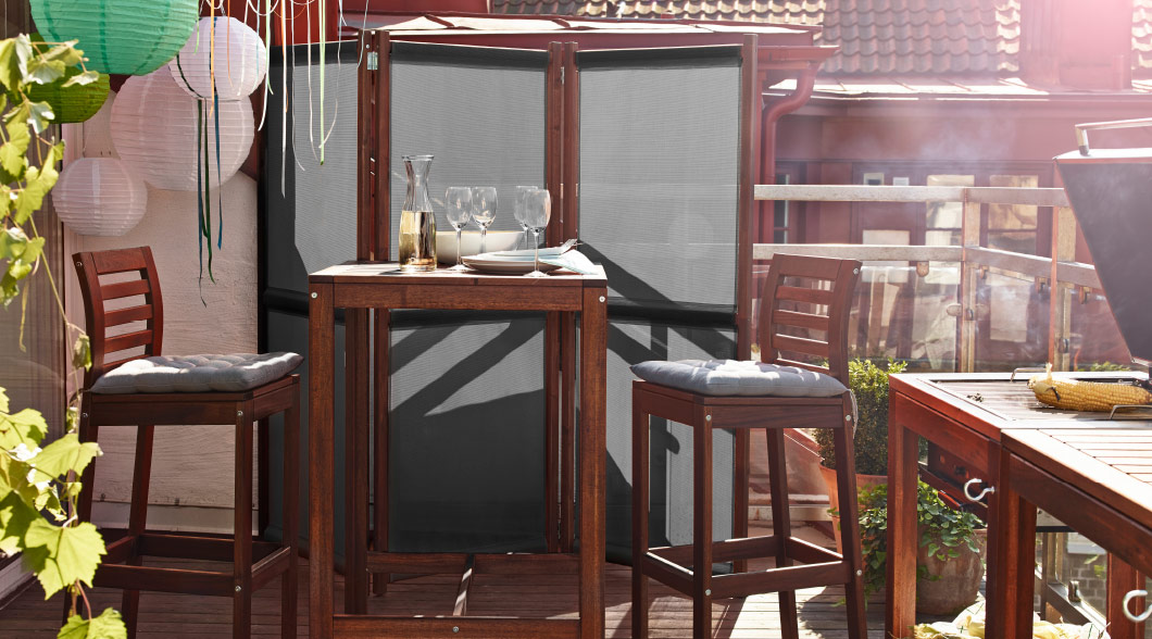 Brown outdoor furniture on a patio
