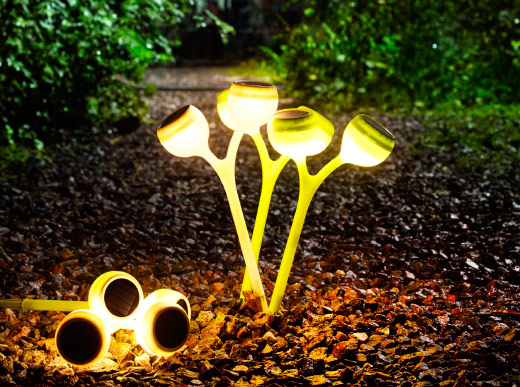 Lit garden sticks on a path covered in leaves