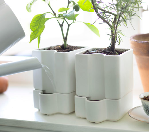 Two self-watering plant pots in white glazed earthenware with plants.