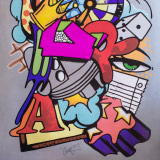 A poster with a colorful street art motif, created by John Matos aka Crash from USA.