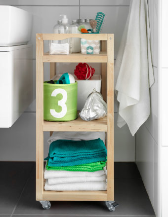 Birch trolley with bathroom accessories