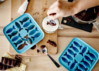 Chocolate dipped fishes in ice tray