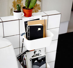 Is the loo your homes unofficial library? Make it official! Try a couple of stationery organisers on the wall for magazines and maybe a notebook for some contemplative thoughts.