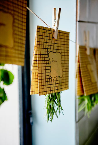 Extend the life of your herbs by drying them, upside down, in a warm, dry part of your home.