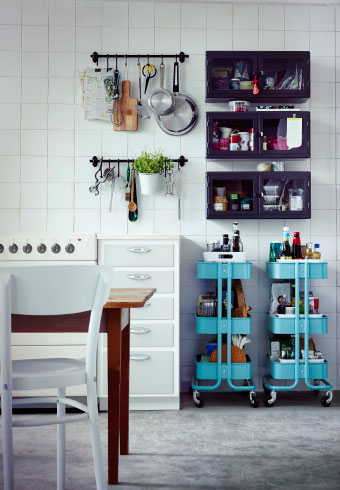 Kitchen drawers and cabinets starting to overflow? Check out our 3 favourite storage remedies using rails, cabinets and trolleys.