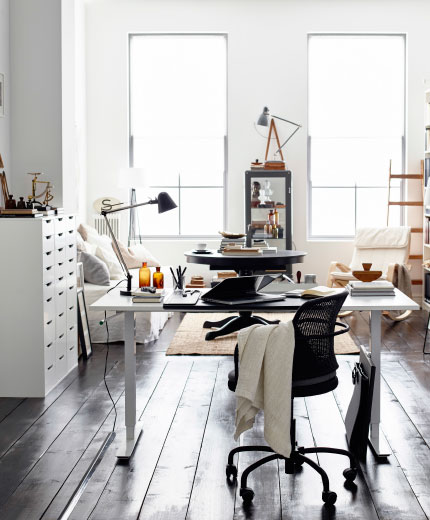 Sticking to neutral colours and black and white means your home office style is longer lasting.