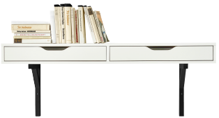 A white wall shelf with drawers and black brackets.