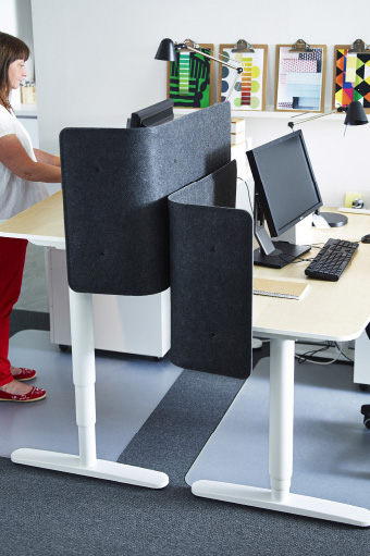 Two height adjustable desks in front of each other with grey desk screens for privacy.